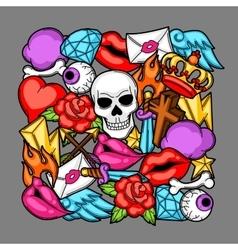 Print with retro tattoo symbols Cartoon old vector image