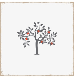 Silhouette of apple tree on grunge background vector image vector image