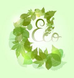 Whirlpool with green leaves sparkles and with vector