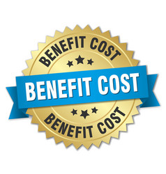 benefit cost round isolated gold badge vector image vector image