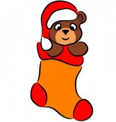 cartoon bear in christmas sock vector image vector image