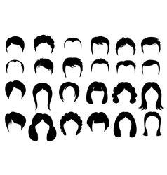 Female and male hair hairstyle silhouette vector image vector image