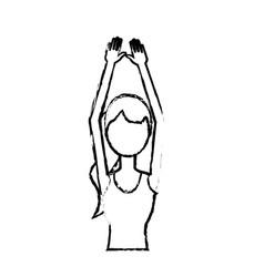 figure healthy woman doing exercise vector image
