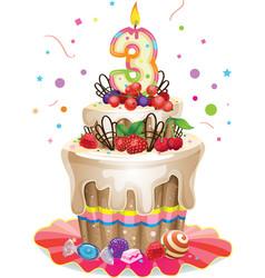 Happy Birthday cake 3 vector image vector image