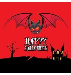 happy halloween card with bat vector image