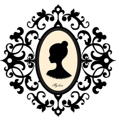 Medallion with a portrait of a girl vector image vector image