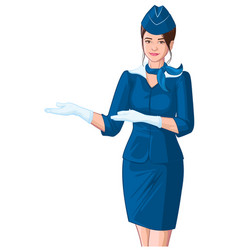 stewardess in blue uniform shows young beautiful vector image