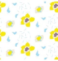 Brush stroke yellow bold florals seamless pattern vector image