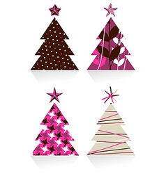 Christmas trees made with different textures vector image vector image