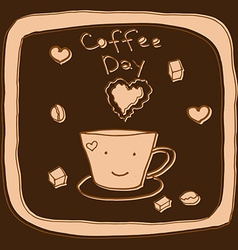 coffee day hand drawn vector image