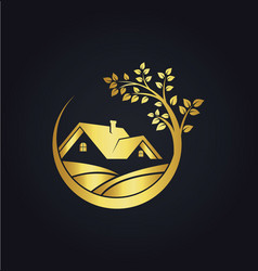 home ecology gold tree logo vector image vector image