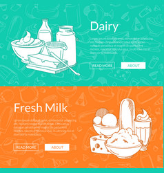 horizontal banners with hand drawn dairy vector image