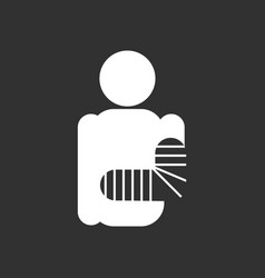 White icon on black background silhouette with vector