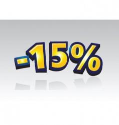15% percent reducuction sale vector