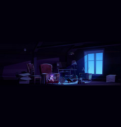 Abandoned night attic with ghost boy spooky scene vector