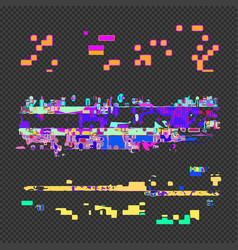 Abstract glitch design elements set vector