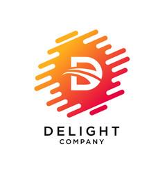 Abstract letter d logo design vector