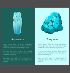 Aquamarine and turquoise blue minerals posters set vector