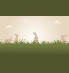 At sunset easter bunny landscape vector