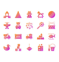 Baby toy simple gradient icons set vector