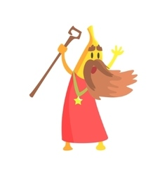 Banana Magician With Staff And Long Beard Part Of vector