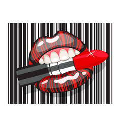 barcode strip makeup of female mouth with lipstick vector image