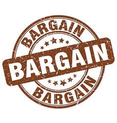Bargain brown grunge round vintage rubber stamp vector