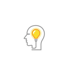 brain lamp idea human head logo vector image