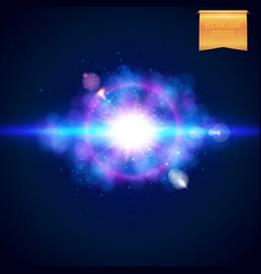 Burst of bright blue light with a magenta halo vector