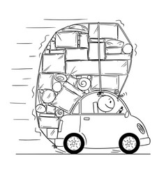 Cartoon drawing of car overloaded by boxes and vector