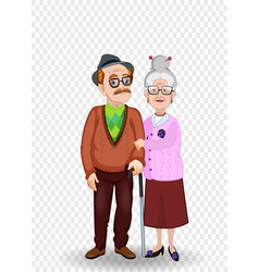 cartoon of elderly couple holding hands vector image