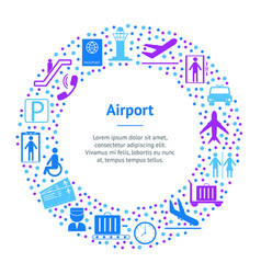 cartoon silhouette airport banner card circle vector image
