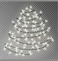 christmas tree of white lights string transparent vector image