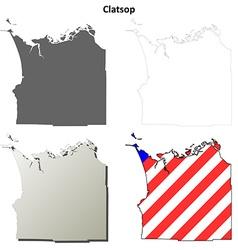 Clatsop Map Icon Set vector