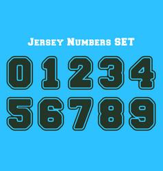 College number set jersey sport numbers bundle vector