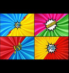Comic duel and fight templates set vector