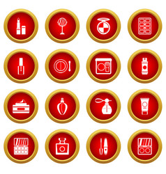 cosmetics icon red circle set vector image