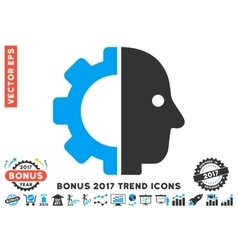 Cyborg Head Flat Icon With 2017 Bonus Trend vector
