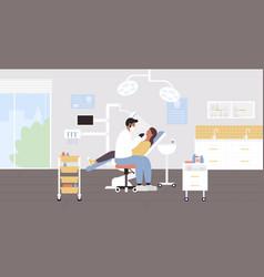 Dentist hospital exam cartoon vector