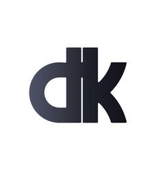 dk d k black initial letter logo design bold vector image