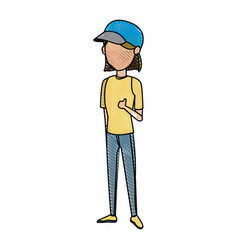 Drawing girl tourist traveler with cap image vector