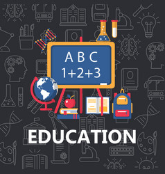 education flat poster vector image