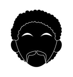 Faceless man with mustache icon image vector