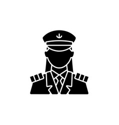 female captain black glyph icon vector image