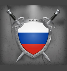 Flag of russia the shield with national flag two vector