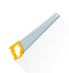 Flat construction handsaw icon vector