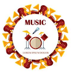 flat musical instrumets round banner design vector image
