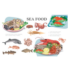 flat seafood composition vector image