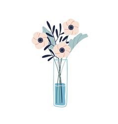 Floristic composition garden flowers in glass vector