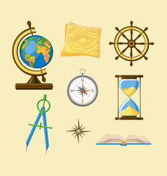 Geography school set with earth globe topography vector